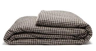 Once Milano - Gingham Linen Blanket - Black Multi