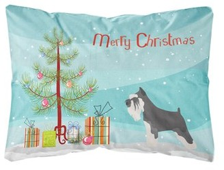 Mini A Ture The Holiday Aisle Maywood Miniature Schnauzer Christmas Indoor/Outdoor Throw Pillow The Holiday Aisle