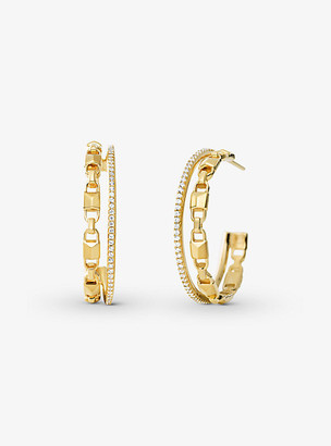 Michael Kors Precious Metal-Plated Sterling Silver Mercer Link Pave Halo Hoops - Gold
