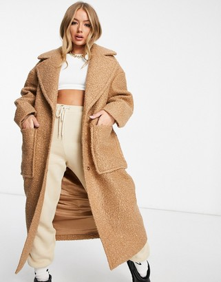 UGG Hattie long oversized coat in camel