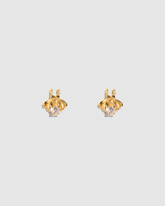 Molten Store The Gold Diamond Bee Stud Earrings