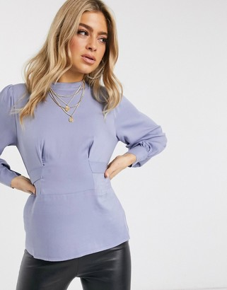 NA-KD front tie blouse in sky blue