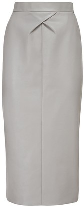 ANOUKI High Waist Faux Leather Midi Skirt