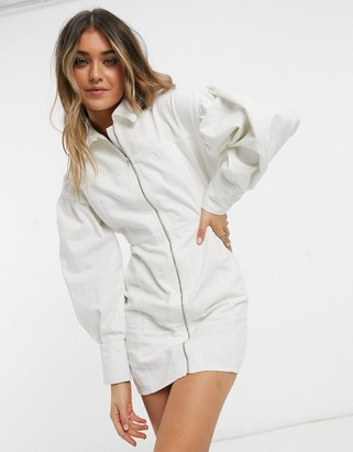 ASOS DESIGN denim zip through dress in white