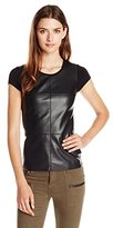 Bailey 44 Women's Hardy Short Sleeve Faux Leather Front Top