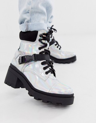 Truffle Collection irridescent lace up chunky military boot-Silver