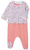 Petit Bateau Baby girl sleepsuit and cardigan set