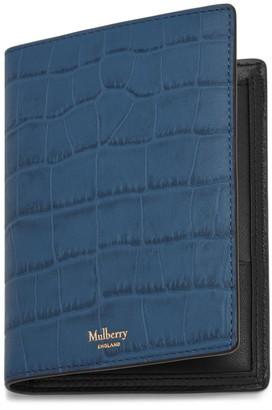 Mulberry Passport Wallet Pale Navy Matte Croc