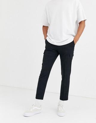 Blue Cross Asos Design ASOS DESIGN skinny crop smart pants with cargo pockets in black and hatch