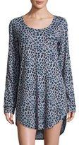 Cosabella Bella Leopard-Print Long-Sleeve Sleep Dress