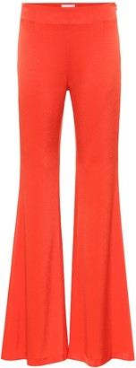 Galvan High-rise flared satin-crApe pants