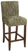 HomePop 29-inch Bar Height Blue/ Brown Damask Upholstered Barstool