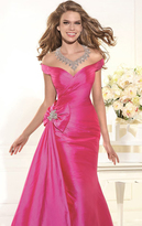 Tarik Ediz Off-Shoulder Taffeta Gown 92376