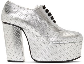 Gucci Silver Otis Lace-Up Platform Heels
