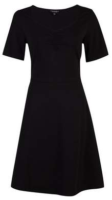 Dorothy Perkins Womens Black Ruched Fit And Flare Cotton Dress, Black