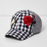 River Island Girls black gingham floral appliqué cap