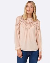 Forever New Marcy Lace Yoke Victorian Blouse