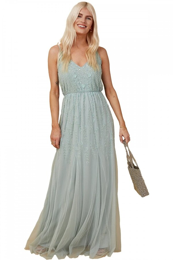 Thumbnail for your product : Little Mistress V-Neck Sleeveless Bridesmaid Prom Mint Floral Bead Embellished Maxi Long Dress 6 Mint