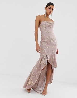 Bariano cowl neck bandeau embellished sequin gown in pink