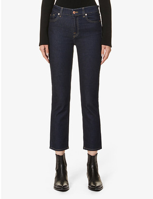 7 For All Mankind The Straight Crop mid-rise straight stretch-denim jeans