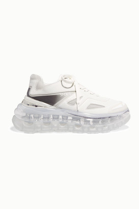SHOES 53045 Bump Air Faux Leather, Mesh And Neoprene Sneakers - White