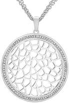 Ron Hami Sterling Silver Round Lace Pendant and Pave White Topaz of Length 41.91cm