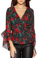 Quiz Floral Bell-Sleeve Wrap Top