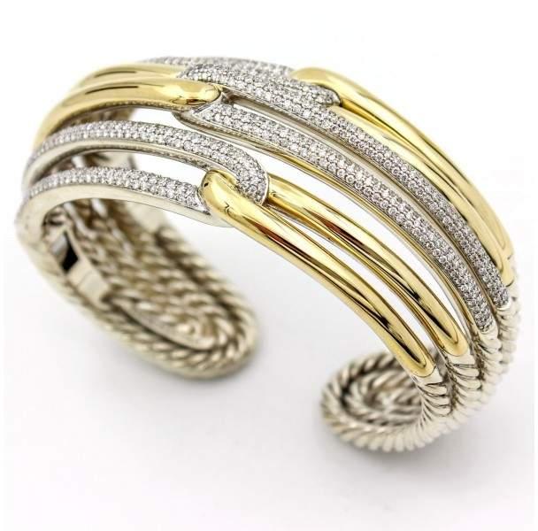 David Yurman Labyrinth 18K Yellow Gold & 925 Sterling Silver 3.18ct Diamonds Triple Loop Cuff Bracelet