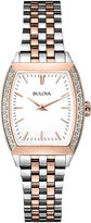 Bulova Womens Two-Tone Diamond Accent Tonneau Case Watch 98R200