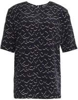 Markus Lupfer Leopard-Print Silk Crepe De Chine Top