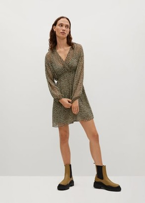 MANGO Leopard print dress khaki - 2 - Women