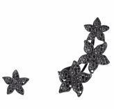 Black Diamond Runa Jewelry Flower Mismatched Ear Cuff and Earring