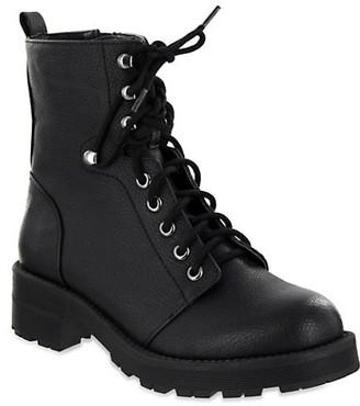 Mia Indigo Faux Leather Combat Boots