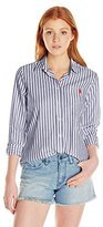 U.S. Polo Assn. Juniors' Classic Button-Front Poplin Striped Woven Shirt