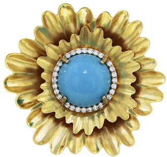 Irene Neuwirth Kingman Turquoise Flower Yellow Gold Ring