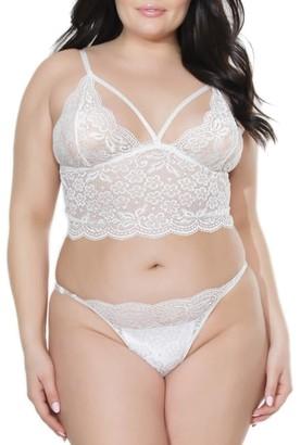 Coquette Plus Size Bra & Crotchless Panty Set