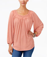 Style&Co. Style & Co Lace-Trim Top, Created for Macy's
