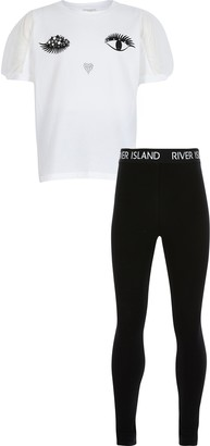 River Island Girls White eyelash t-shirt legging outfit