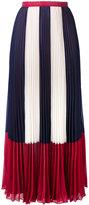 RED Valentino stripe panel pleated skirt - women - Polyester - 42