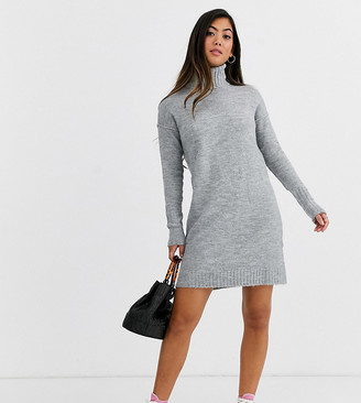 Vero Moda Petite knitted roll neck dress in grey