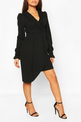 boohoo Petite Wrap Front Volume Sleeve Blazer Dress