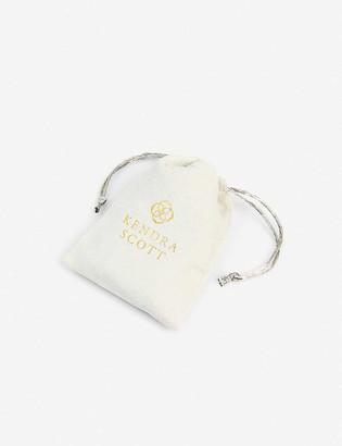 Kendra Scott Aragon rhodium-plated and slate cats eye drop earrings