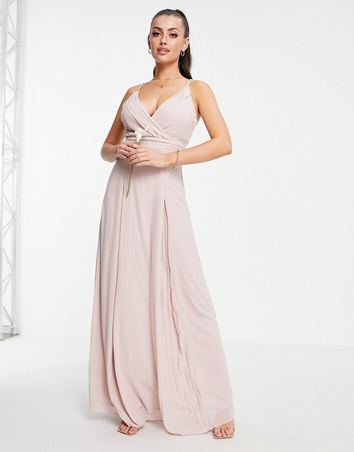 Thumbnail for your product : TFNC bridesmaid pleated wrap front cami maxi dress in mink