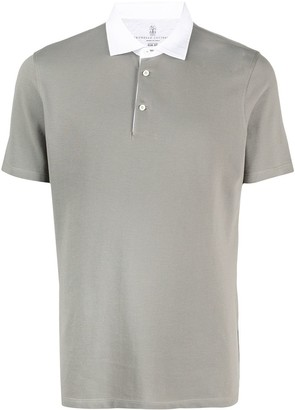 Brunello Cucinelli Contrast Short-Sleeve Polo Shirt