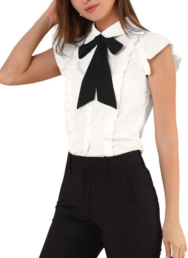 Allegra K Women/'s Button Up Ruffle Front Chambray Shirt Top
