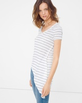 White House Black Market Stripe Asymmetric Tee