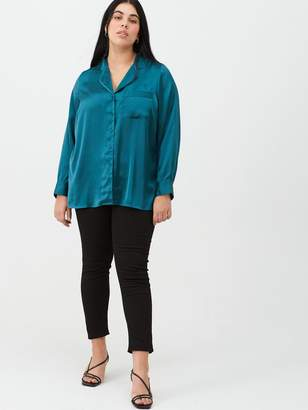 V By Very Curve Satin PJ Blouse - Peacock