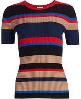 Akris Punto Multi Stripe Wool Knit Short-Sleeve Sweater