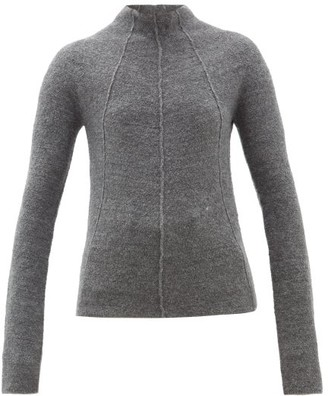 Jil Sander Mock-neck Cashmere-blend Sweater - Womens - Dark Grey