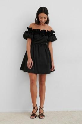 NA-KD Off The Shoulder Satin Dress